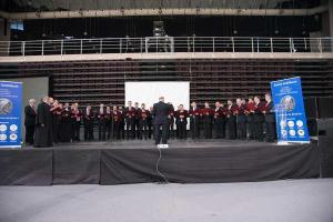 Ο Βυζαντινός χορός έκλεισε τη εκδήλωση με τρεις υπέροχους ύμνους από το βραβευμένο λεύκωμά του.